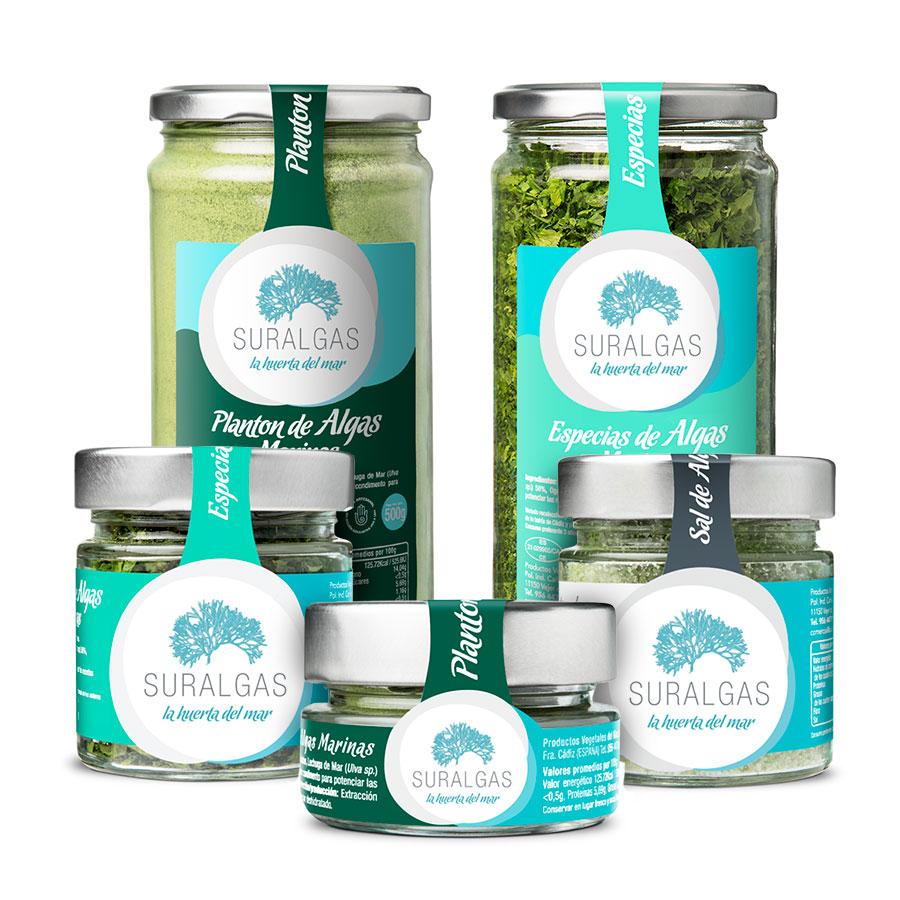 Planton de algas marinas, especias de algas marinas y sal de algas, elaborado por suralgas